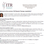 ITR Physical Therapy Newsletter